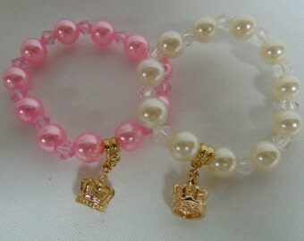 Pearl and Crown Bracelets, Birthday Party Favors, Girls Party Favors, Pink or White pearl Bracelets