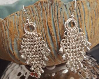 Silver rain drop earrings