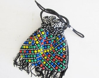 40% OFF SALE Vintage 1960's Pouch Handbag / Retro Colored Beaded Drawstring Purse