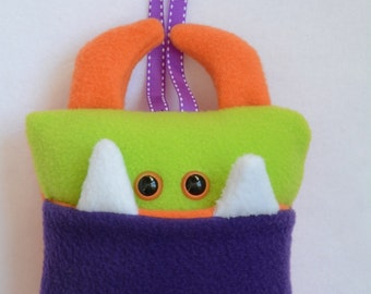 Tooth Fairy Pillow | Purple, Green, and Orange Tooth Monster | Tooth Monster Pillow