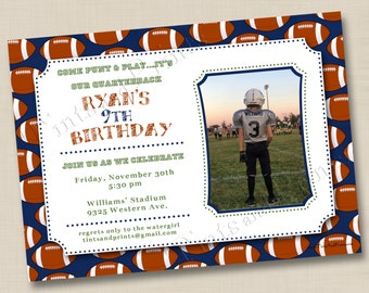 Football Star Custom Birthday Party Photo Invitation Design- any accent colors or age