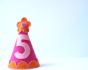 Birthday Party Hat--Hot Pink with Orange Flower--Custom Made