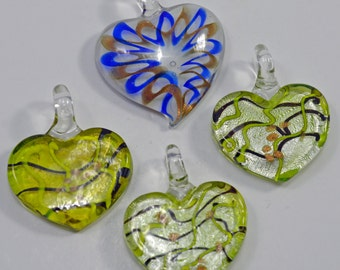 Murano style glass heart pendants with silver foil - #1602