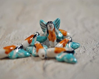 Ceramic angel beads, drilled top to bottom, 20x25mm - #160
