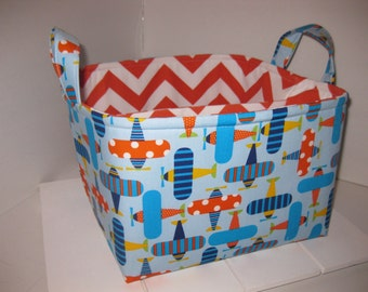 Large Diaper Caddy 10 x 10 x 7 / Organizer Bin / Blue Orange Airplanes Chevron- Personalization Available
