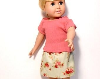 18 Inch Doll Clothes, Green Skirt, Pink T-Shirt, 18 Inch Doll Outfit, Doll Skirt and Top, Pink Knit Doll Shirt, Green Flowered Skirt,