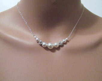 Swarovski Crystal Pearl Necklace, Pearl Necklace, Pearl Fireball Necklace, Pearl, Minimalist, Bride, Bridesmaid, Necklace, Sterling, Silver