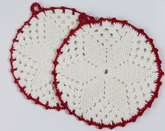 Vintage Hand Crocheted Potholders - Red & White - 1950s unused Cotton