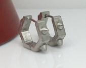 Men's hoop earrings, industrial thorn hexagon hoop earrings for men, men's earrings hoops, men's white gold hoop earrings, E251MW