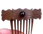 Victorian mourning hair comb hard rubber hair accessory headdress headpiece decorative comb hair ornament