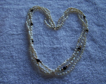 14K Petite Triple Strand River Freshwater Pearls Onyx Necklace