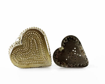 Vintage Heart Shaped Cookie Cutter, Punched Tin Cheese Mold, Farmhouse Kitchen Decor, Heart Shaped Mold