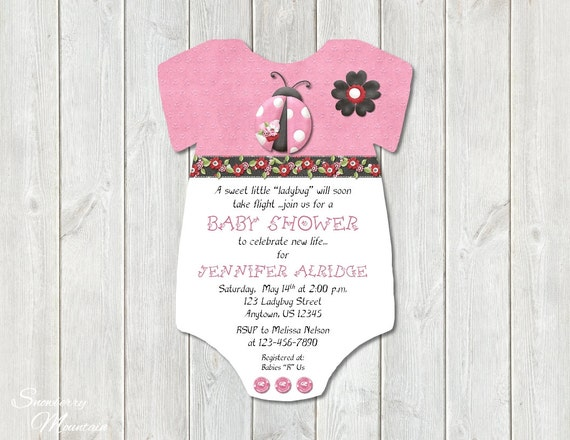 hot pink ladybug baby shower invitations girl printed set of 10