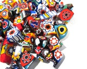 Murano Millefiori Glass Pieces VINTAGE Scrap (3 oz) Venetian Glass MILLEFIORI Chunks Fusing Mosaic Supplies Millefiori Glass Chunks (T190)