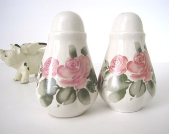Mid Century Salt and Pepper Shakers Painted China Floral Salt and Pepper Set 1960s from AllieEtCie