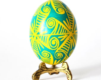Ukrainian gift for mom from daughter on Mother's Day blue and yellow pysanka Easter tree ornament