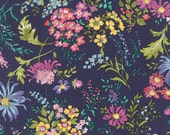 Floral Cotton Lawn Print in Navy, Violet and Pink from the Regent Street Lawns Collection, by Moda, 1 yard