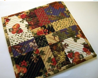 CIJ SALE Fall Autumn Mug Rug Snack Mat Coaster Quiltsy Handmade Quilted FREE U.S. Shipping