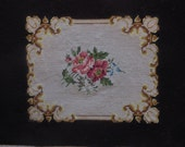 vintage finished needlepoint petit point multicolor roses on a burgundy background 15 by 21 inches