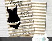 Lingerie Bridal Shower Invitation Gold Digital Lace  Printable Invite Bride Glitter Wedding Chic Personalized Bachelorette Bachlorette Party