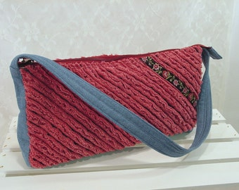 SALE Chenille & Denim Shoulder Bag, Rose Pink Mauve Bag with Zipper, short shoulder strap, casual purse