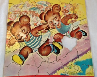 Vintage Child's Puzzle Bears Running  artist J Wendell Campbell hidden shape pieces  S P 7403 Retro 1950's