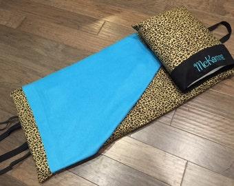 Napmat Cover - Cheetah with Aqua Fleece Blanket