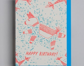 "Letterpress card,  ""Happy Birthday (pinata)!"""