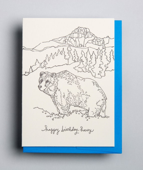 "Letterpress card, ""happy birthday, honey"""