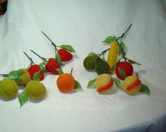 1960s Set Of Flocked Decorative Fruit.