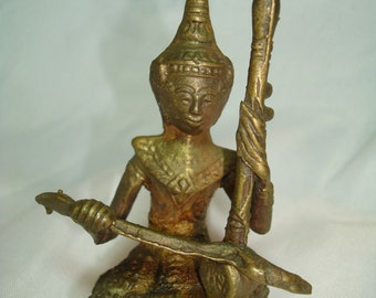 1970s Brass Thailand  God Goddess with Snake Statue.
