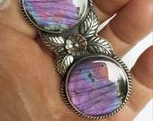 Reserved For Rachel Purple Blue Labradorite Spectrolite Sterling Silver Pendant Statement Double Stone Bohemian Gypsy Big Southwestern Style