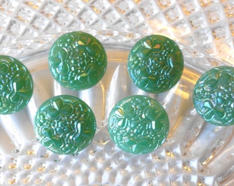 Antique Vintage Czech's Buttons, Green Shamrock Pattern, Green,  Aurora Borealis , Circa 1930's,  Button Jewelry, Rare, Green Glass Buttons