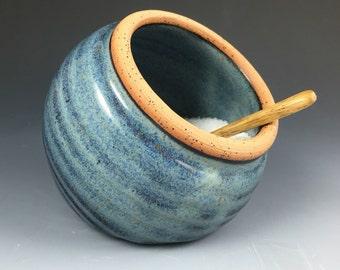 Salt Cellar, Salt Pig, Pottery Salt Jar with Spoon in our Denim Blue Glaze