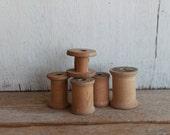 Vintage Wooden Thread Spools // Lot of 5
