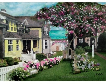 Cape Cod Limited Edition Fine Art Painting Print Original Trails End Ocean, Cottage, MA White Picket Fence
