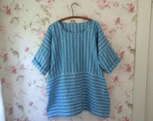 Washable Blue Stripe Linen Dress Linen Tunic Sweet Everything Dress Lagenlook