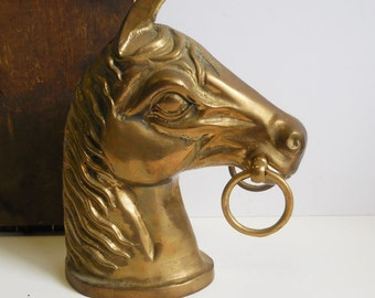 Vintage brass horse head with bit rings hitching post decorative equestrian 9 inch