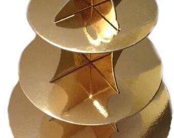 Gold Metallic Foil 3 Tier Cupcake Dessert Stand