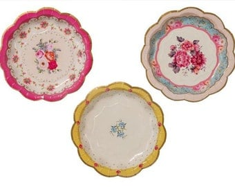 """Shabby Chic Floral Trio Paper 7"""" plates package of 12"""