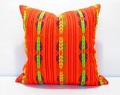 Orange Pillow, Tribal Pillows Covers, Colorful Pillow Covers, Bohemian Decor, Boho Bedding, Mexican Cushion, Square, tribal pillowcase