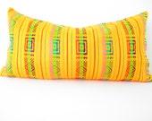 Mexican embroidered pillow, Tribal pillow, Long yellow Pillow, mustard Lumbar pillow, Pillowcase aztec, Boho room Decor, Cinco de Mayo Aztec