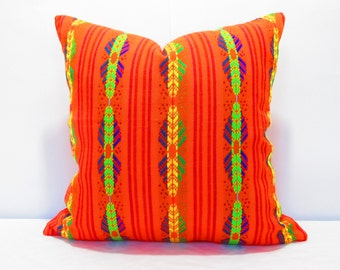 Orange Pillow, Tribal Pillows Covers, Colorful Pillow Covers, Bohemian Decor, Boho Bedding, Mexican Cushion, Square, tribal pillowcase