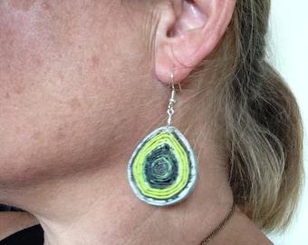 """n. 20 LIME & DARK GREENS teardrop hand coiled recycled paper pierced earrings measure 1"""""""