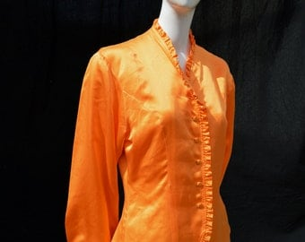 Vintage 80's SPORTMAX silk ORANGE blouse ruffled trim size 10 high fashion italian by thekaliman