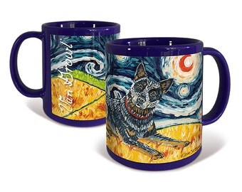 Australian Cattle Dog Coffee Mug Van Growl Starry Night