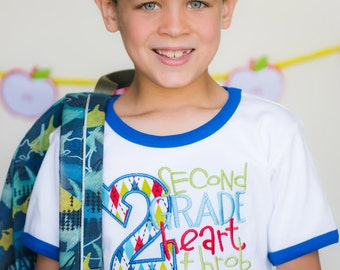 Back to School Shirt, 1st Day of School, Personalized, Heart Throb, Kindergarten, 1st, 2nd, 3rd, 4th, 5th, 6th Grade, First Day, Pre-K Boy