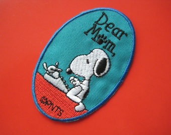 Iron-on Embroidered Patch Snoopy letter to Mom 3.3 inch
