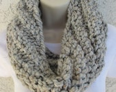 Chunky Spiral Rib Cowl in Gray Marble, Blackstone, Charcoal Gray, or Black READY TO SHIP