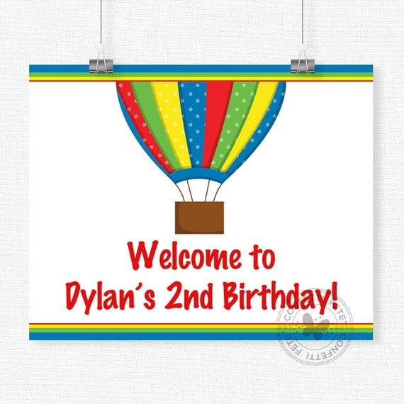 Birthday Sign Ups: Up, Up, Away Birthday Sign, Hot Air Balloon Welcome Sign